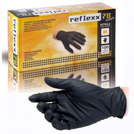 REFLEXX78 100-piece pack Disposable black nitrile gloves
