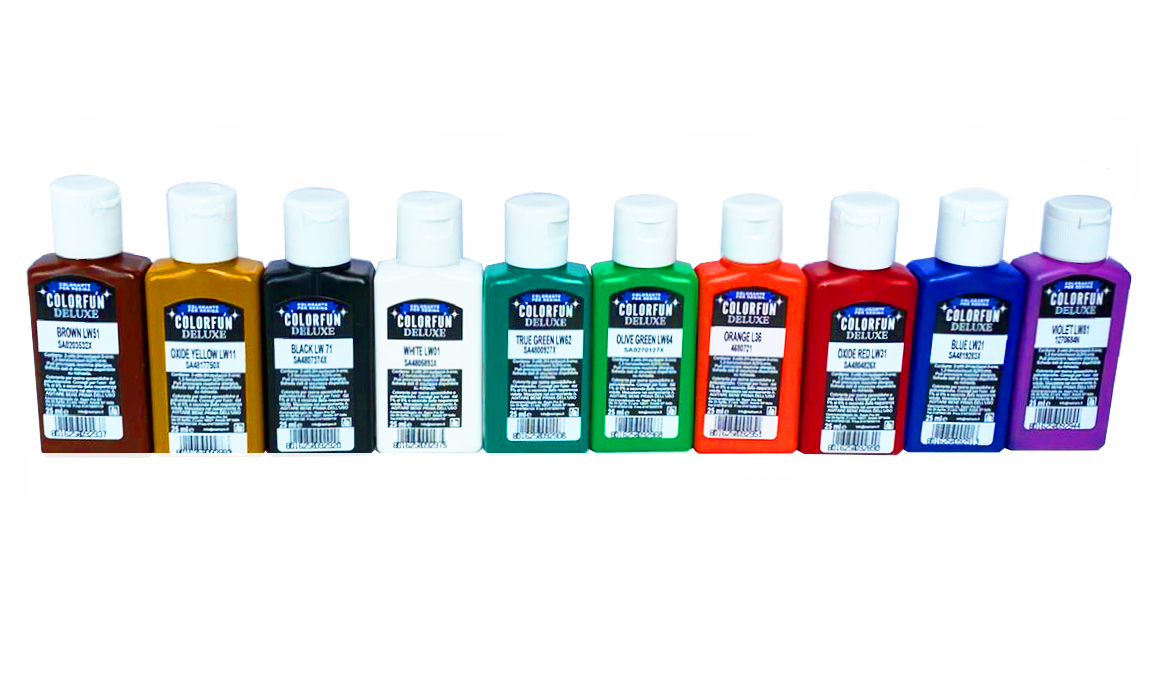 """""""COLORFUN DELUXE"""" COLOURING PASTES SET - COVERING EFFECT - 9 x 25 ml [0,87 oz]"""