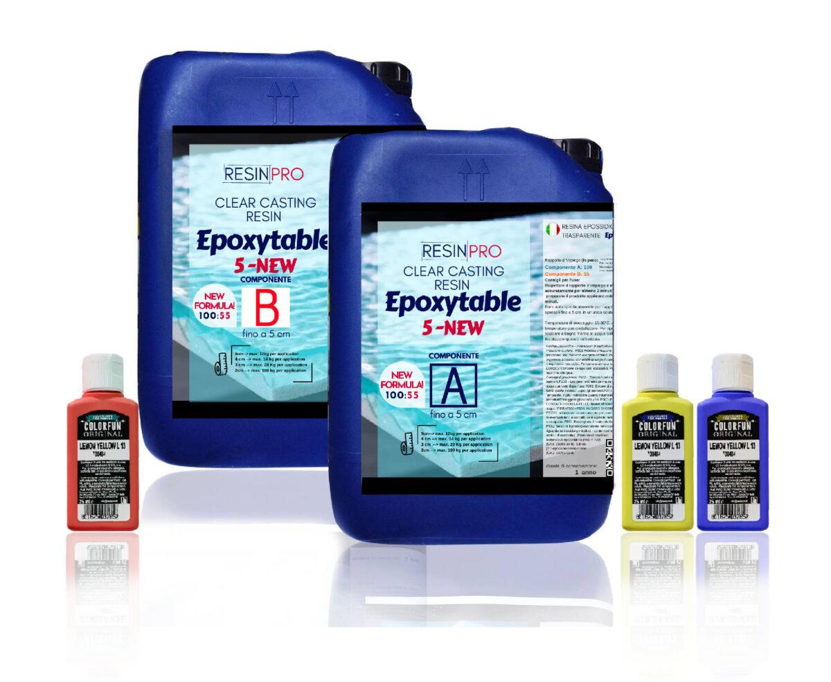 EPOXYTABLE 5-FIVE EPOXY RESIN FOR TABLES 9 KG [19,84 lb]+ Free pigment!