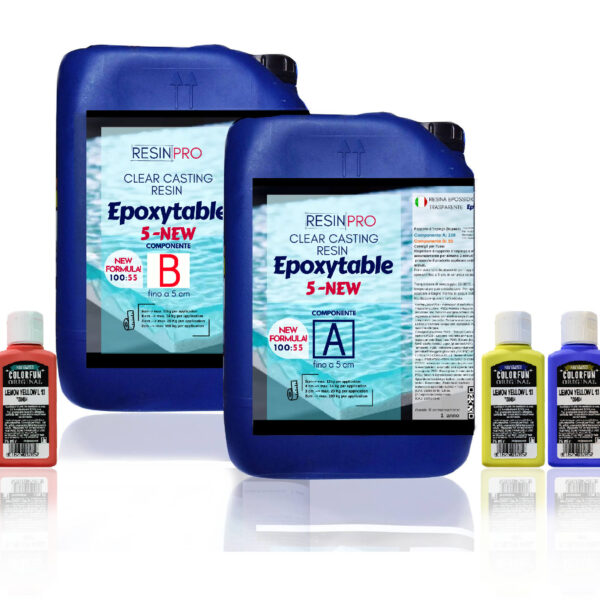 EPOXYTABLE 5-FIVE EPOXY RESIN FOR TABLES 9 KG [19,84 lb]+ Free pigment!