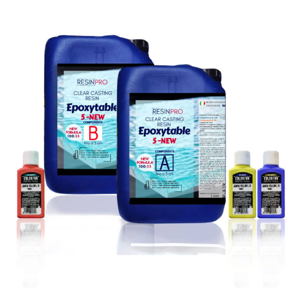PROMO EPOXYTABLE 5-FIVE EPOXY RESIN FOR TABLES 18 KG [39,68 LB] + Free pigment!