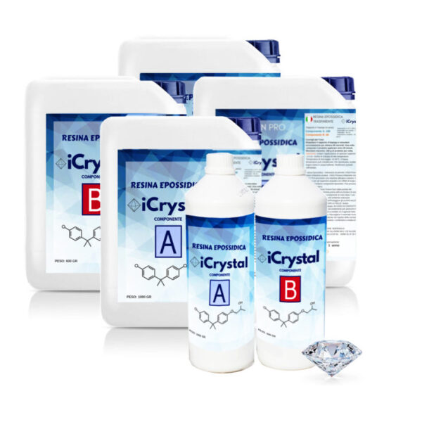 ICRYSTAL – Transparent epoxy resin 1.5 kg – 3kg - 6kg – New formula