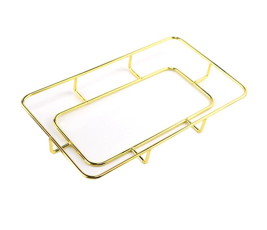 Rectangular metal tray holder